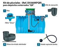 "KIT AGUAS PLUVIALES DEPOSITOS ENTERRADOS QR FILTRO ""SINUS"""
